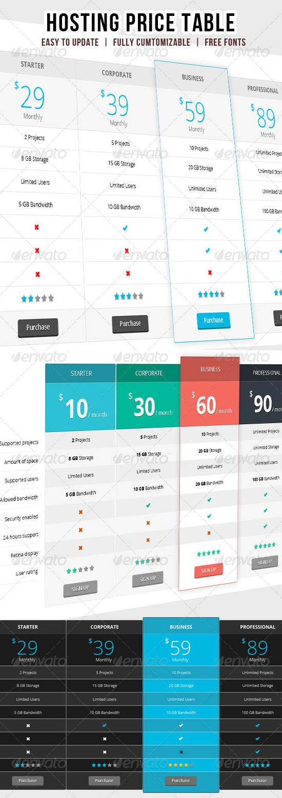web hosting price table ui design