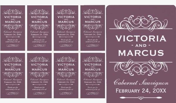 wedding wine bottle monogram design