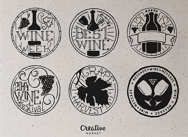 wine stamp badge designs1