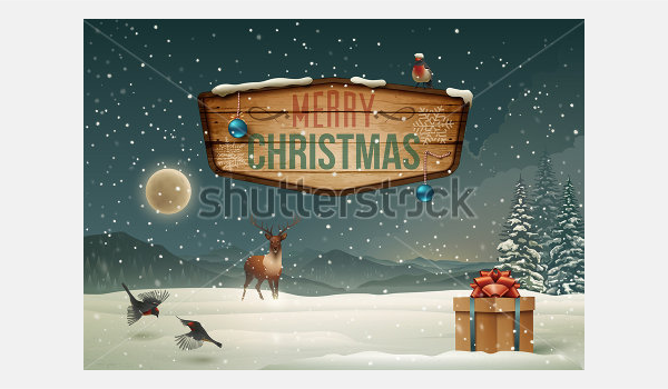 Winter holidays landscape with wooden sign. Vector Illustration