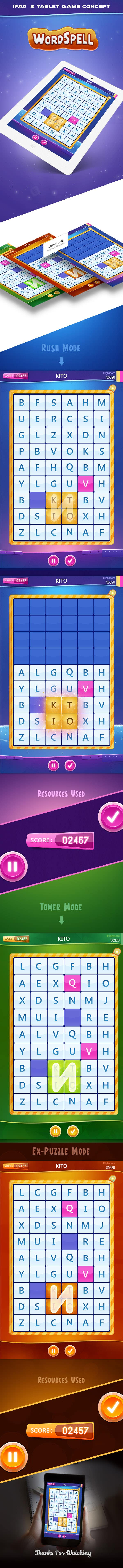 wordspell game app ui design