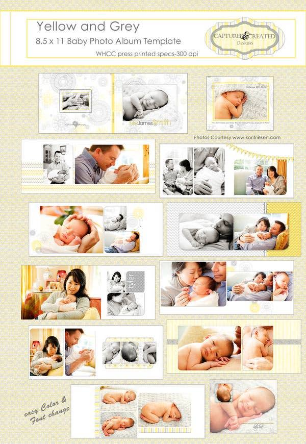 yellow and grey baby photo album