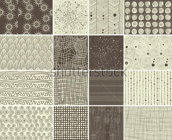 a set of 16 doodle seamless