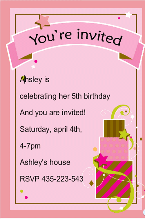 Birthday Card Invitation Template Orderecigsjuicefo