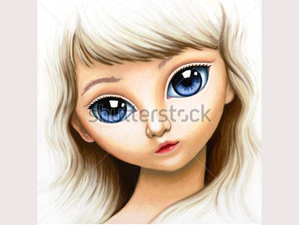 eautiful girl face with big blue eyes