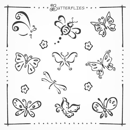 doodle butterflies brushes