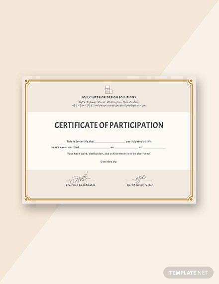 free blank participation certificate