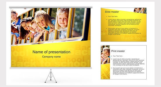 kids in school bus ppt template