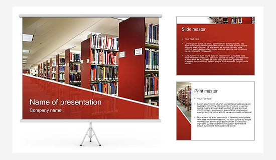 library ppt template with 3 slides