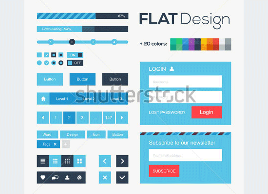 web and mobile design elements buttons