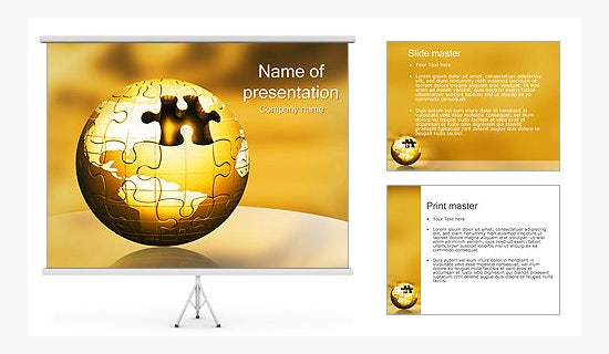 world puzzle ppt template