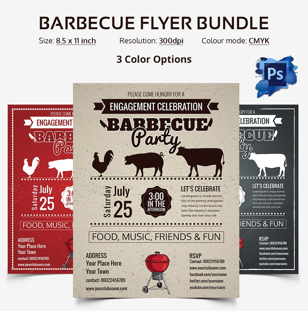 psd flyer templates psd eps ai indesign format barbecue flyer templates bundle