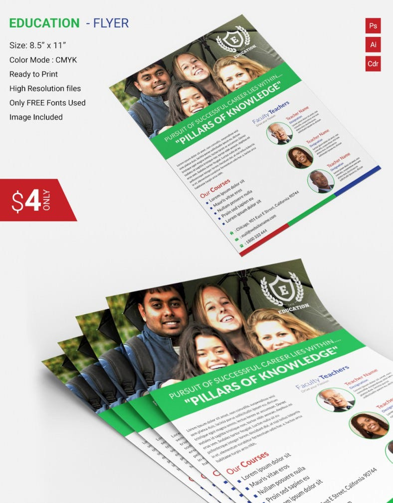 psd flyer templates psd eps ai indesign format education flyer template
