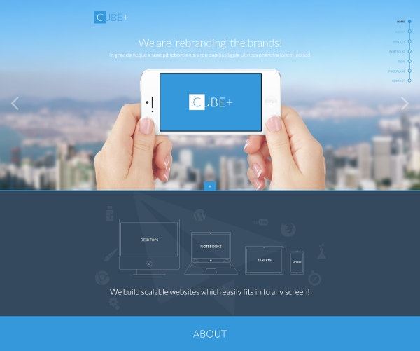 cube psd landing page