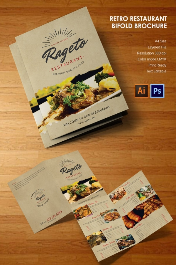 Ai and PSD Retro Restaurant Bi Fold Brochure