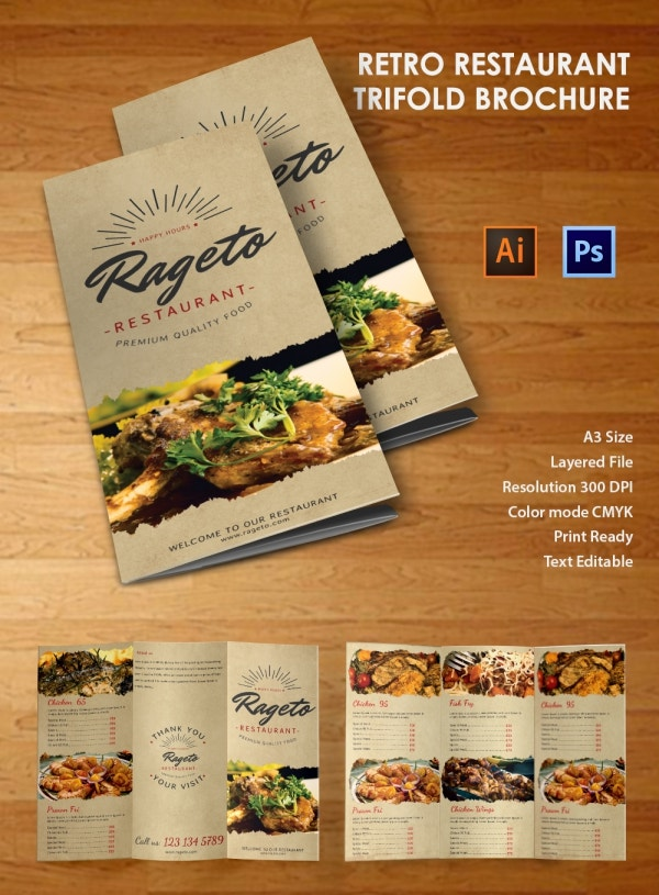 Ai and PSD Retro Restaurant Tri Fold Brochure