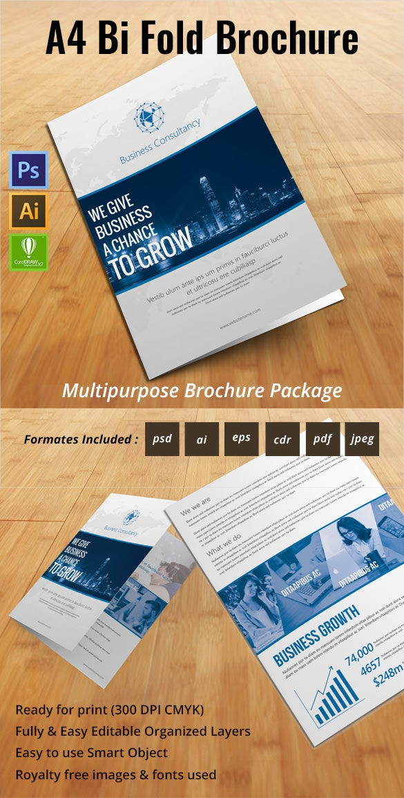 Printable bi fold brochure template 67 free word psd for Bi fold brochure template free