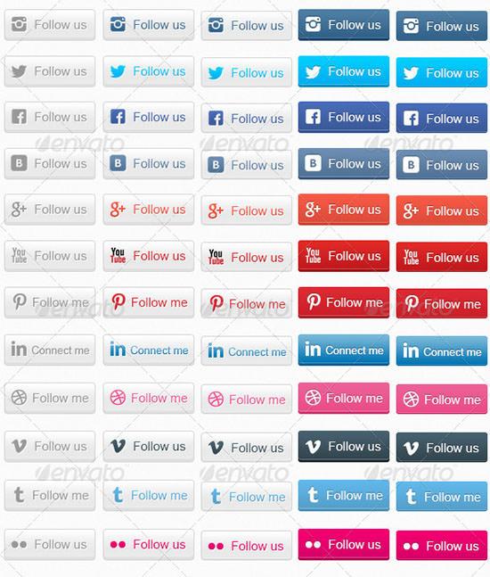 100 social web buttons