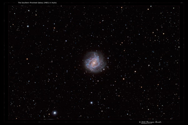 The Southern Pinwheel Galaxy in Hydra Background