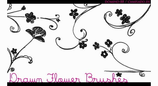 15 drawn flower brushes
