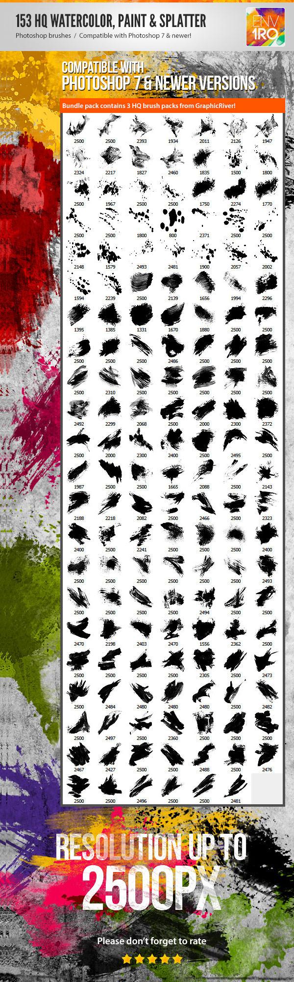 153 watercolor paint splatter photoshop brushes