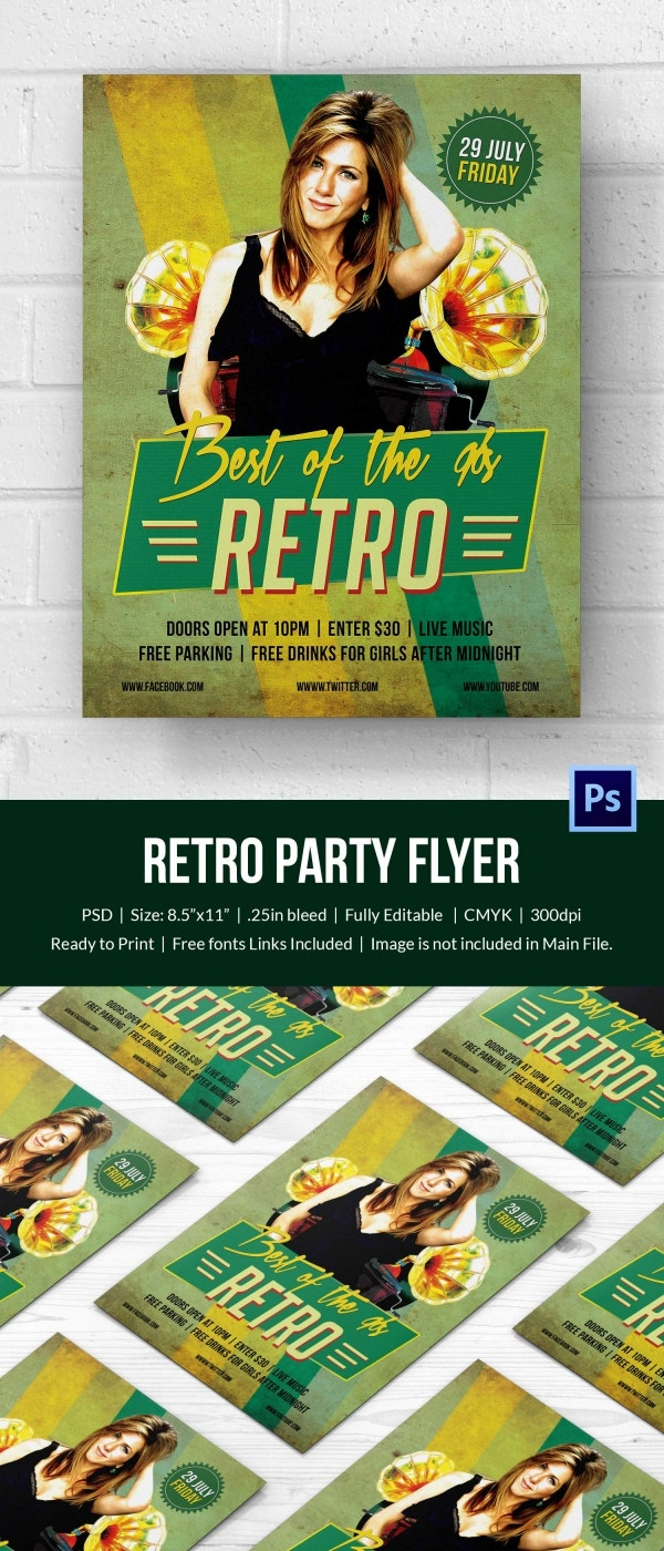cool retro style flyer template