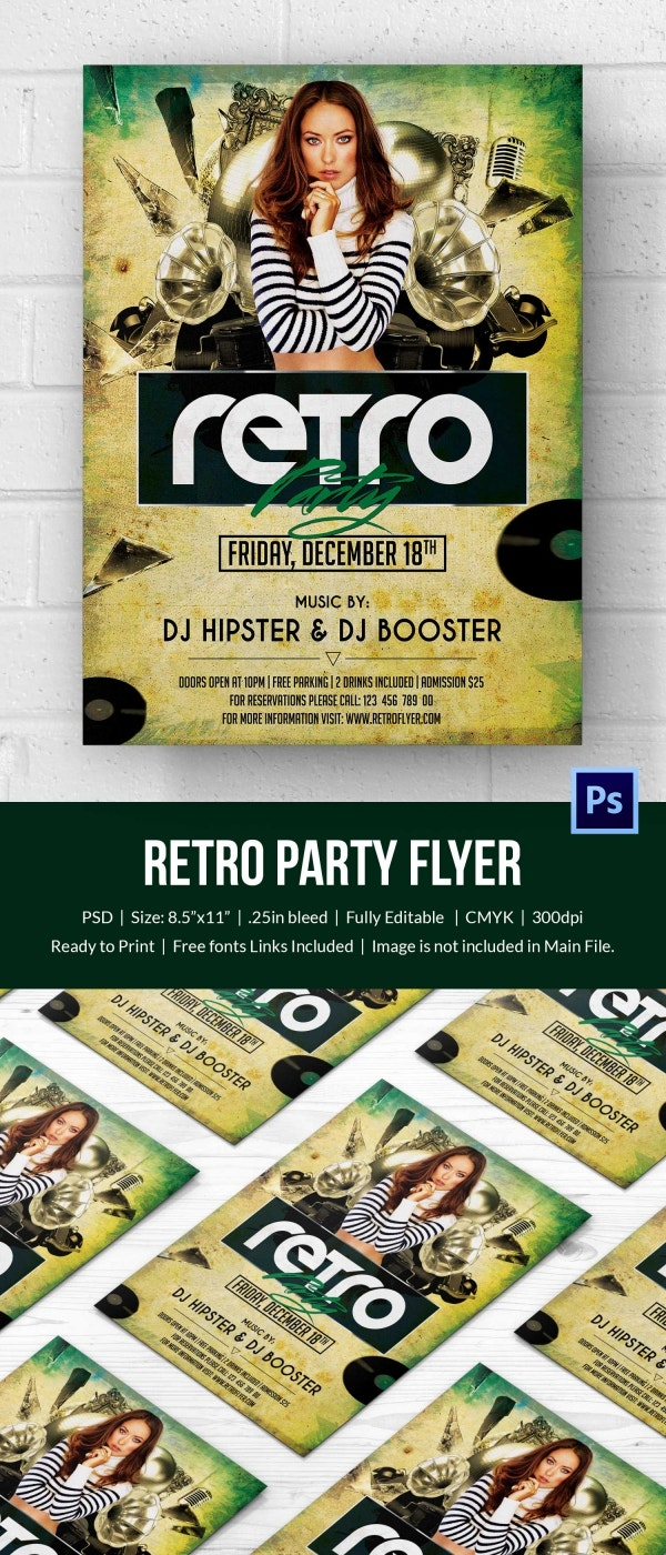 retro style flyer psd format retro grunge party flyer