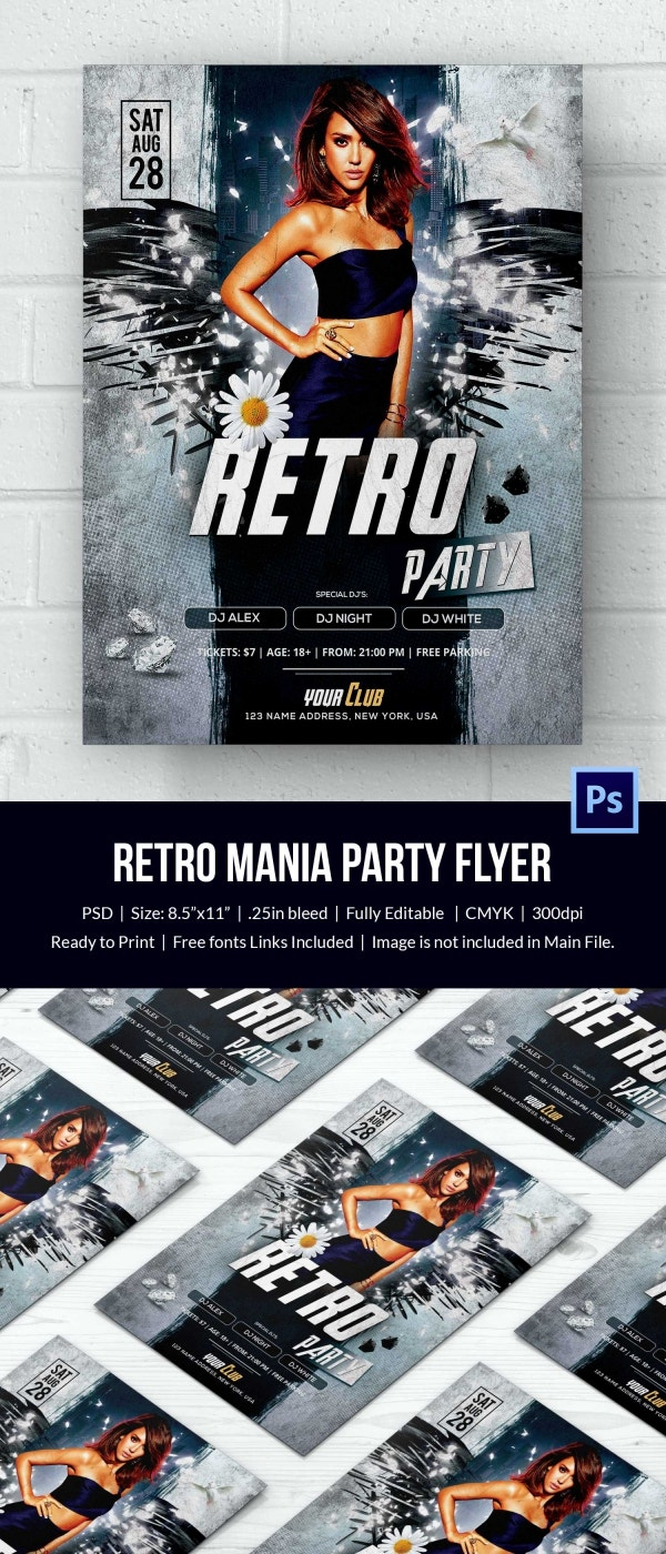 retro style flyer psd format retro mania flyer template