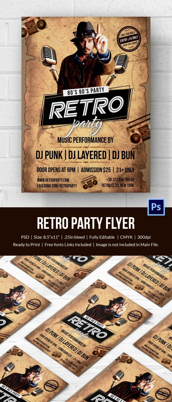 Unique Retro Style Flyer Template