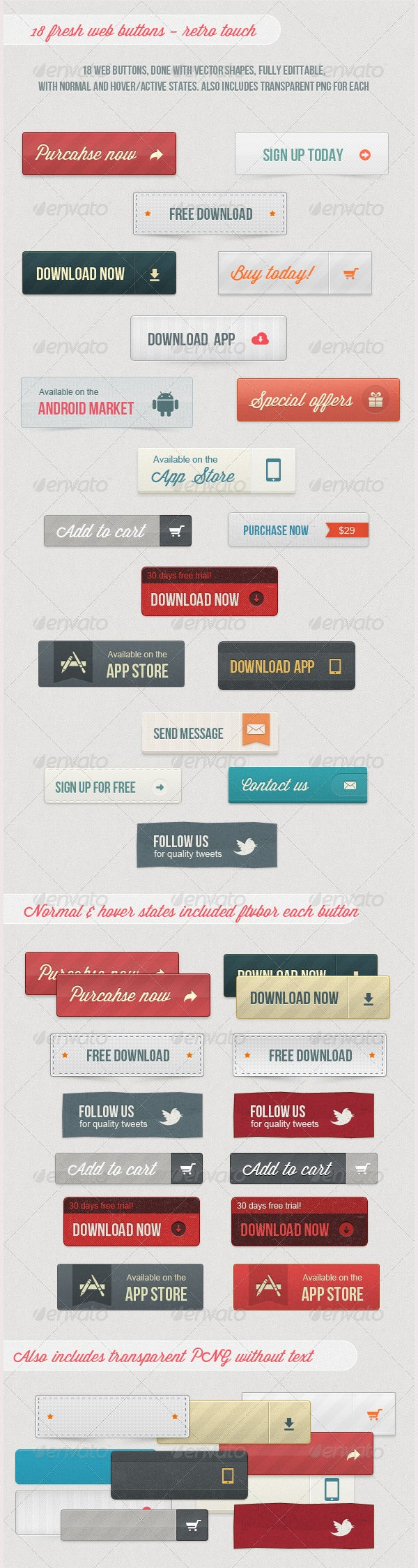 18 fresh web buttons retro touch
