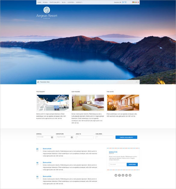 responsive hotel travel google website template