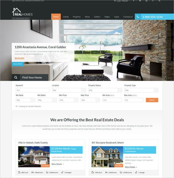 wordpress real estate google website theme