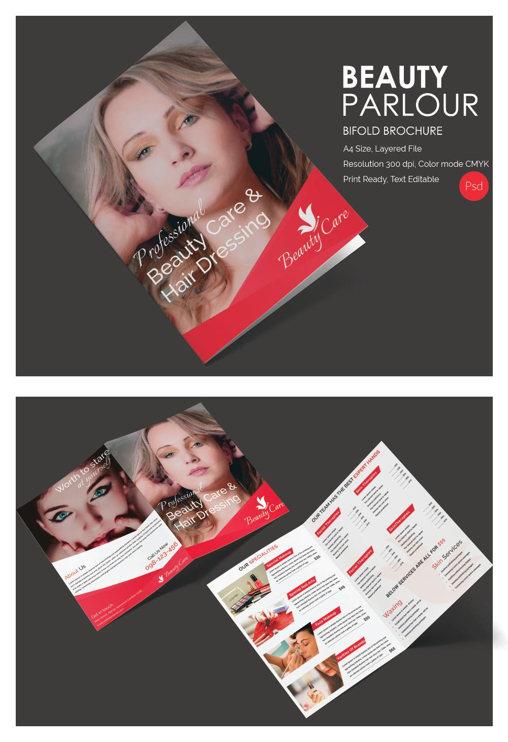 Beauty Parlour bifold brochure mockup