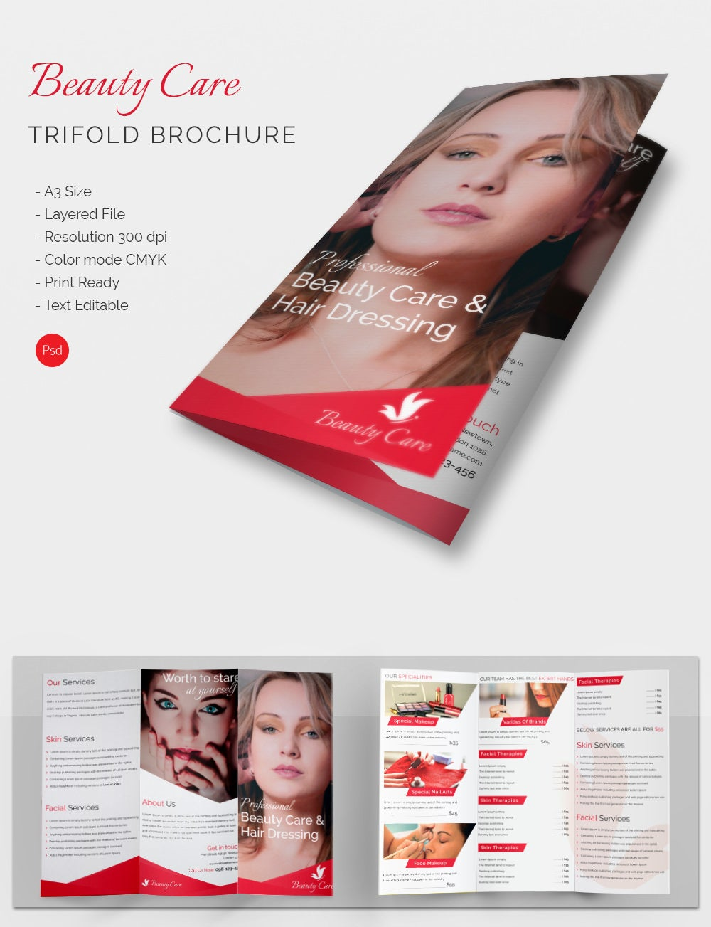 Tri Fold Beauty Palour Brochure Template