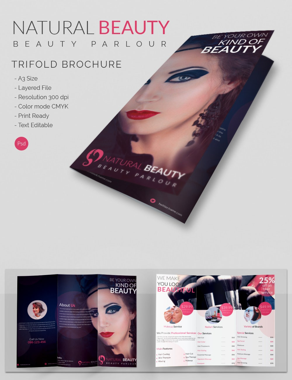 Natural Beauty Parlour Tri Fold Brochure