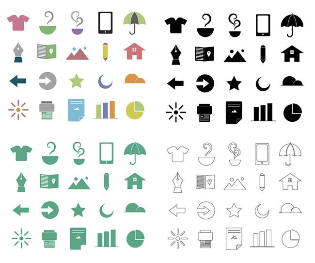 20 flat random ui icons pack