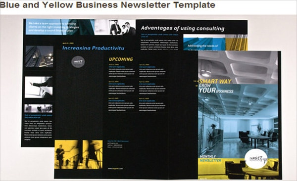 blue and yellow newsletter template