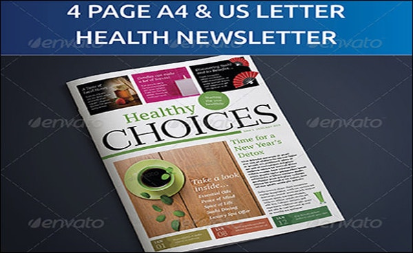 4 Page A4 and US Letter Healthy Living