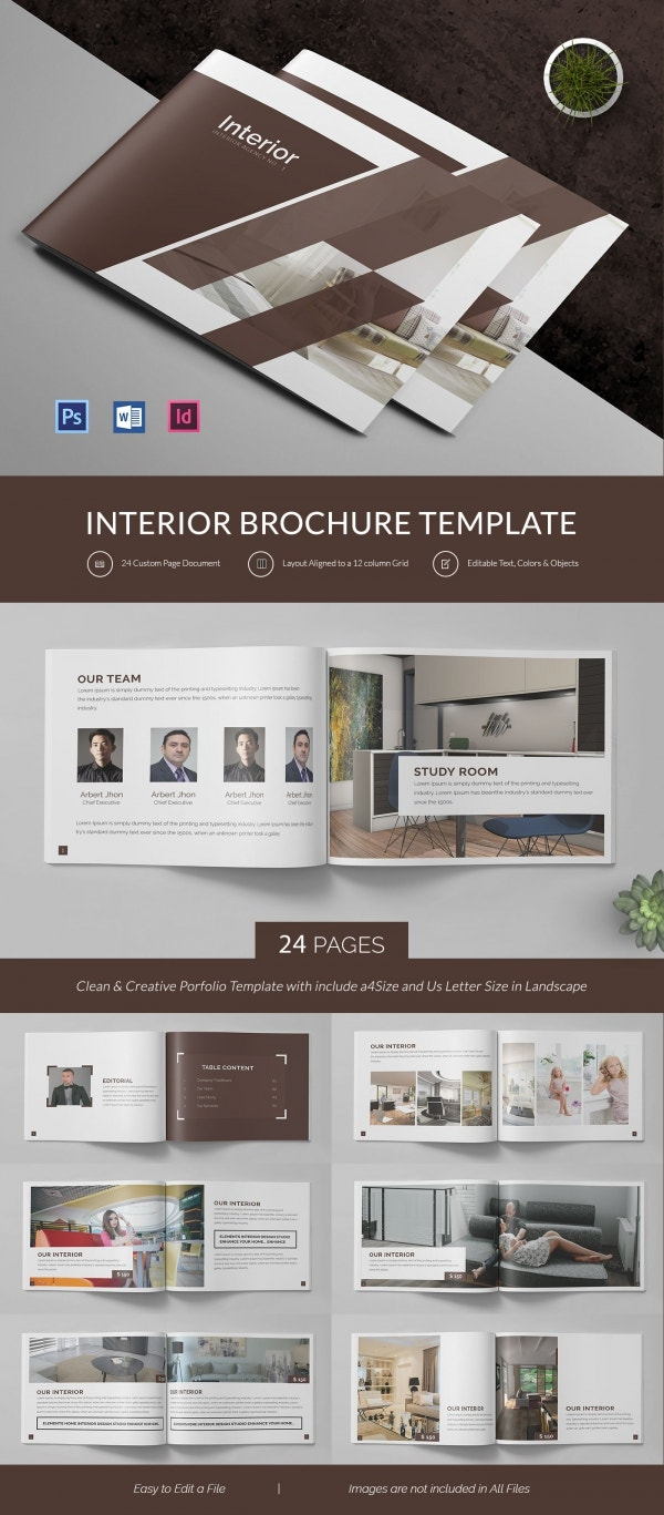 interior design brochure psd eps indesign format customize interior brochure template