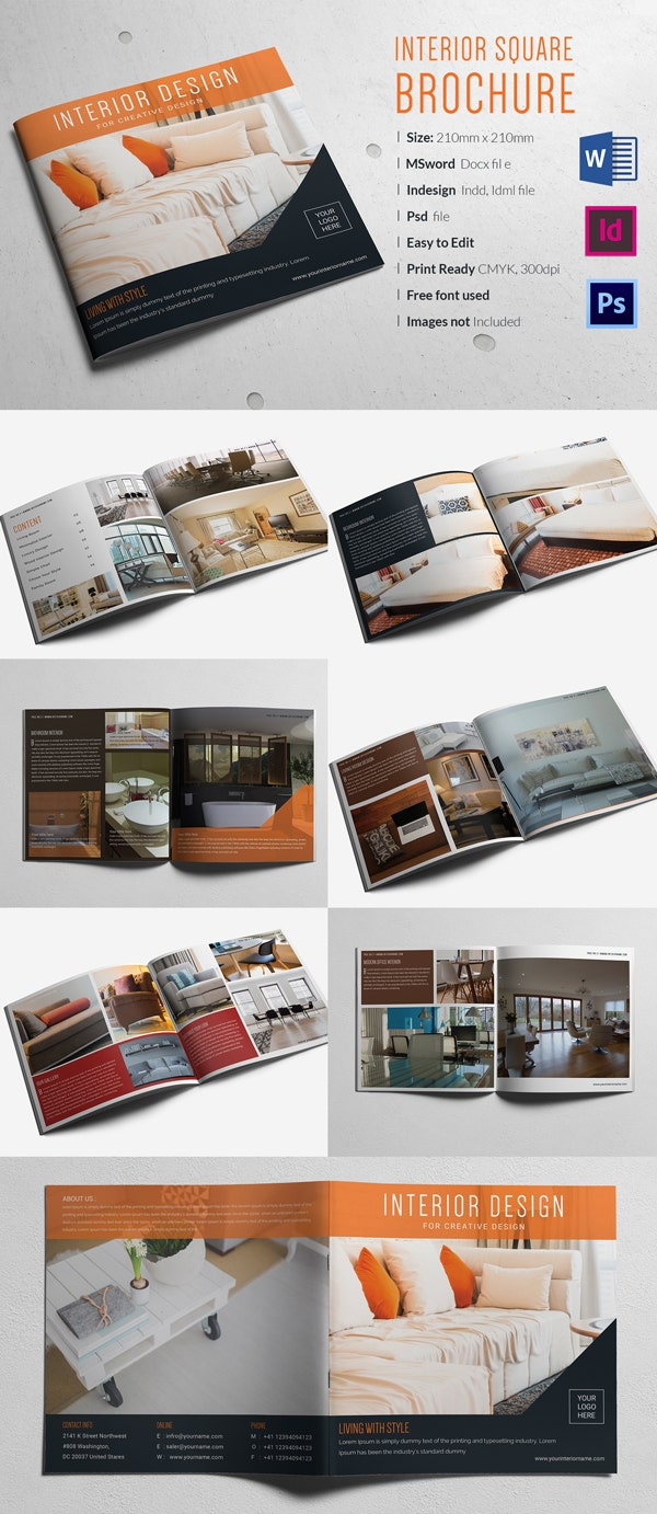 Interior Square Brochure Template