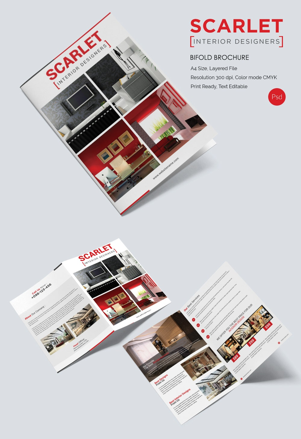 Interior design brochure 25 free psd eps indesign for Bi fold brochure template indesign free