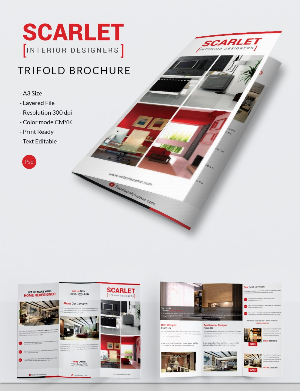 Interior design brochure 25 free psd eps indesign for Brochures design templates