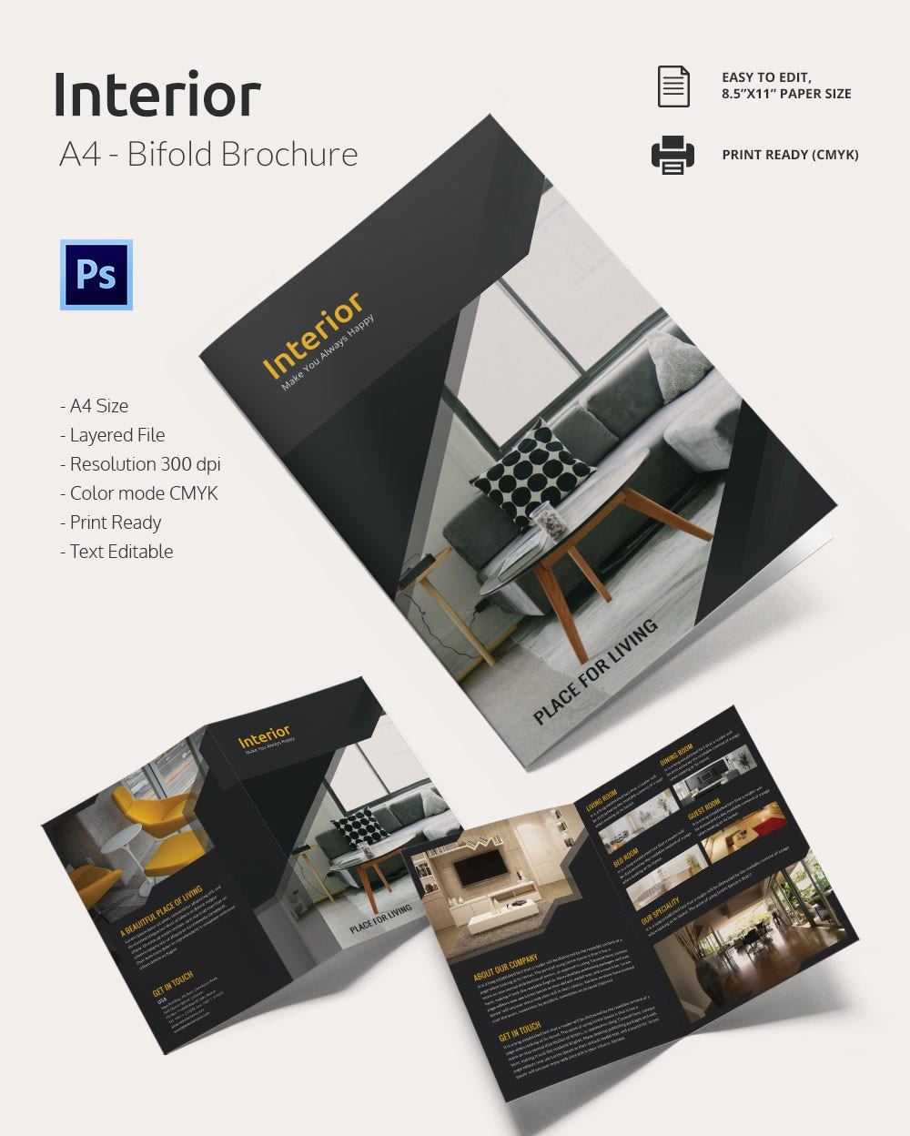 Interior A4 Bi Fold Brochure Template