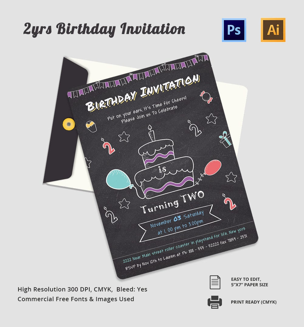 Second Birthday Invitation Card Template