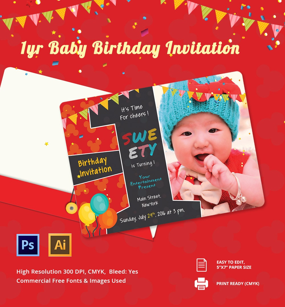1st Birthday Card Invitation Designs Free Gallery Image Iransafebox – Birthday Card Invitation Design
