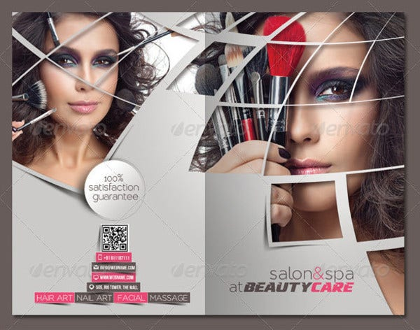 beauty care saloon bi fold brochure template