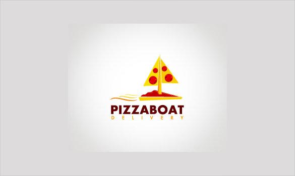 pizza logo in boat style