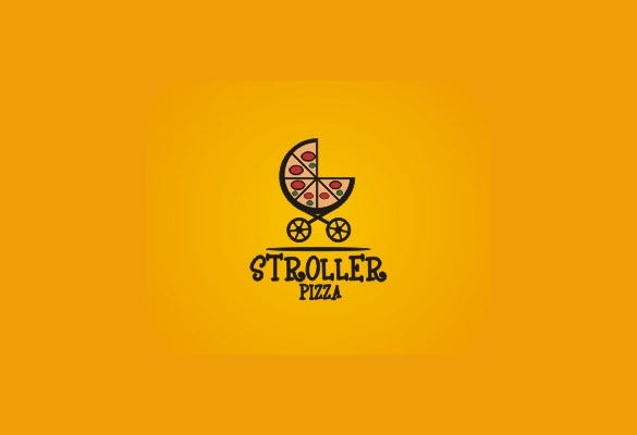 stroller pizza logo template