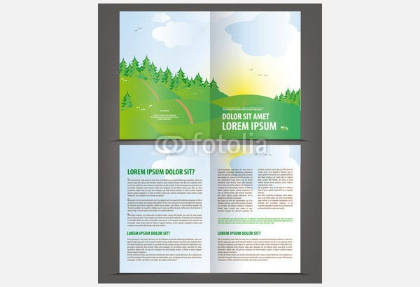 vector empty bi fold brochure