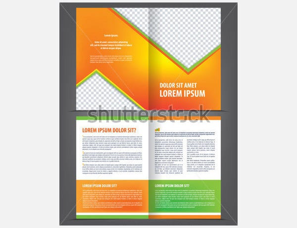 vector empty bi fold brochure template design1